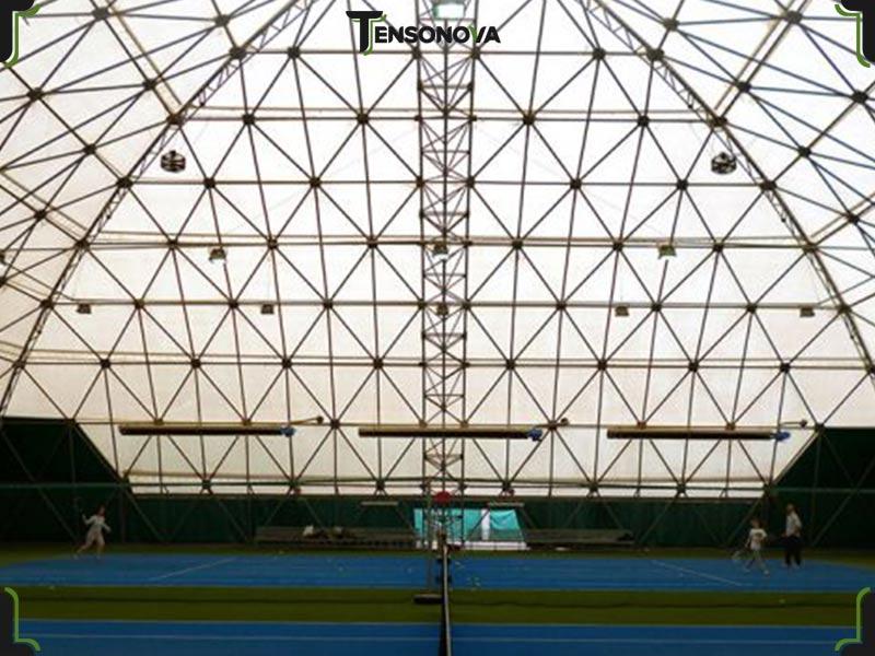 copertura ad arco in pvc per impianto sportivo