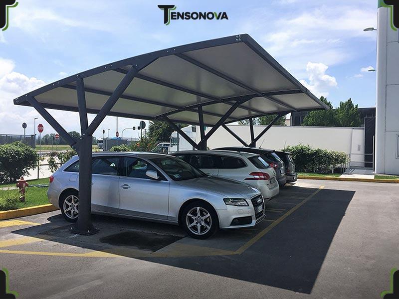 copertura per parcheggi con struttura in ferro