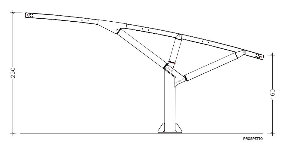 disegno tecnico tettoia auto ribassata