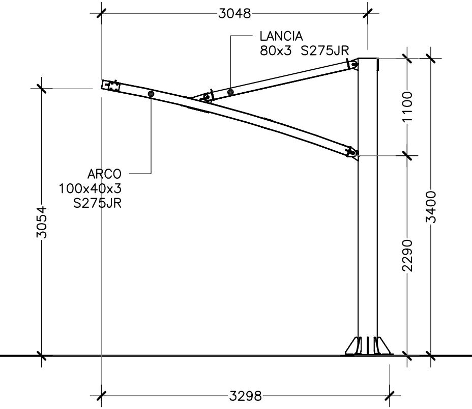 disegno tecnico tettoie per moto Tensonova