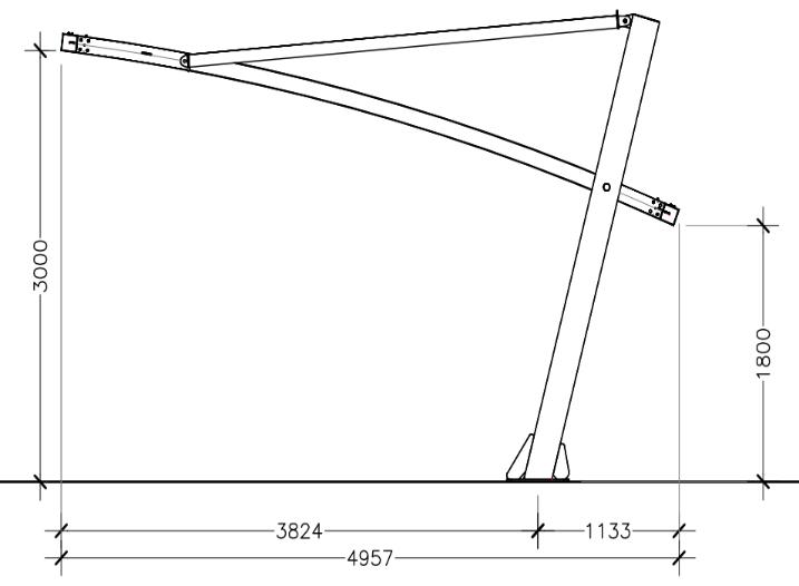 disegno tettoia a sbalzo