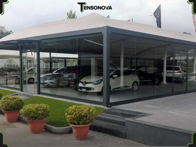 gazebo metallo concessionaria auto