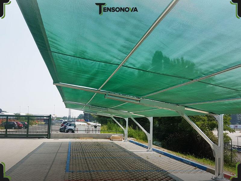 tettoie antigrandine per file parcheggi auto
